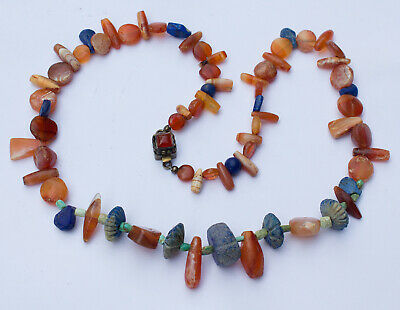 Ancient Bactrian Lapis Lazuli and Carnelian Bead Necklace