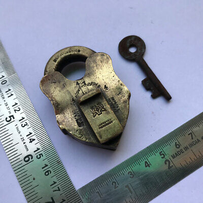 Old antique solid brass padlock lock with key small or miniature RAREST SHAPE