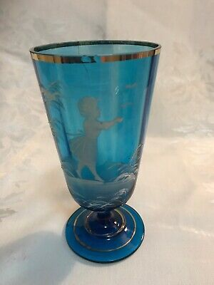 Mary Gregory Blue Footed Vase Girls Birds