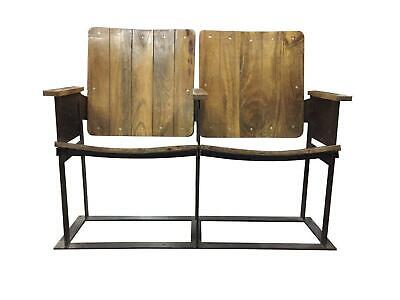 Industrial Vintage Double Theater Seats - Reclaimed Wood - 2 Seater Cinema Seats