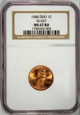 1984 Lincoln Memorial Cent Double Die Obverse NGC MS 67 RD DDO FS-037