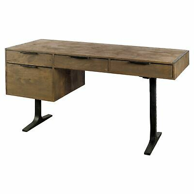 Vintage Industrial Desk - Iron - Reclaimed Hardwood - Dorm
