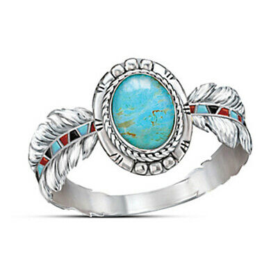 IBoho Tibetan Silver Turquoise Ring Wedding Women Vintage Feather Jewelry Sz6-10
