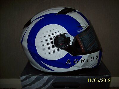 9f1fa4c7 New Agrius Rage Sv Warp Motorcycle Helmet Xl Pearl White & Blue Derby Pick  Up
