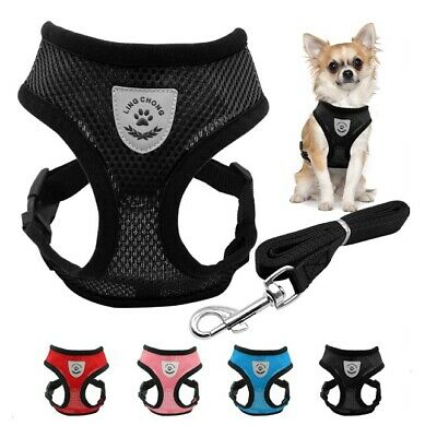 Mesh Breathable Dog Harness and Leads Pet Puppy Adjustable Leash Vest 3 Sizes-