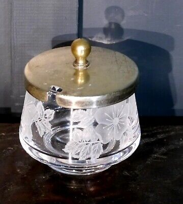 Hand-Etched Glass Condiment Salt / Mustard etc Holder, with Silver Plated Lid.