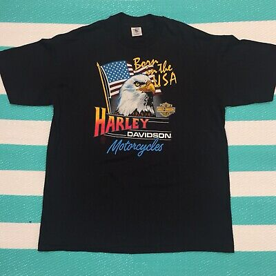 "Vintage 1986 Harley Davidson T-Shirt ""Born in the USA"" Eagle XL Single Stitched"