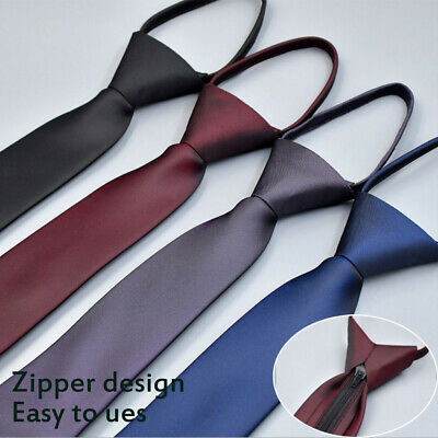 New Zipper Lazy Men's Necktie Casual Business Wedding Slim Zip Up Neck Tie AU
