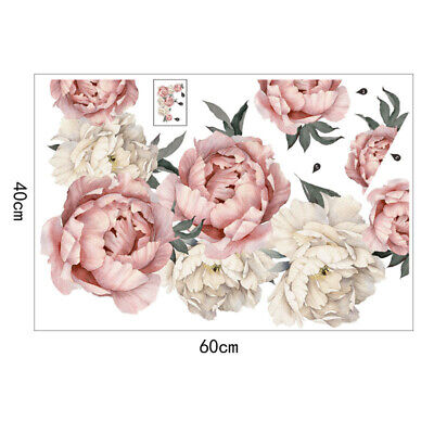 Pink Peony Flower Blossom Wall Stickers Kids Art Baby Nursery Decor Mural Decal