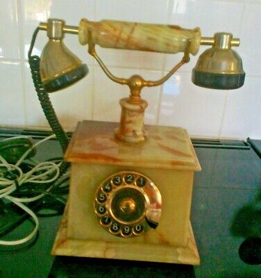 Vintage Art Deco Green Onyx Telephione (in working order)