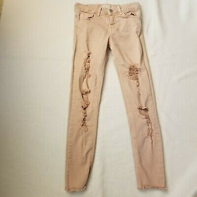 Zara Girls Pink Jeans Casual Collection Core Denim Ripped Distressed Size 9/10