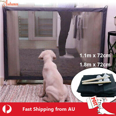 Pet Mesh Gate Magic Safe Fence Barrier Enclosure Guard Stair Dog Puppy Safety