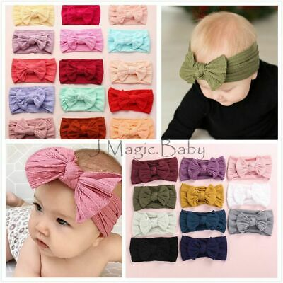 Baby Girl Cable Knit Nylon Bow Turban Top Knot Headband Newborn Accessories