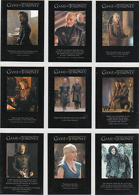 Game Of Thrones Season 3 The Quotable Game Of Thrones Insert Set Q21-Q29 (9)