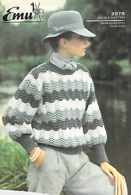 "Knitting Pattern Emu DK Ladies 3 Colour Striped Lacy Sweater 27 - 37"" 3978"