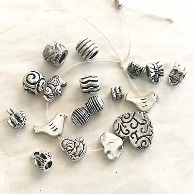 18 Piece Lot Antique Silver Metal Beads Bails Charms For Jewelry Making