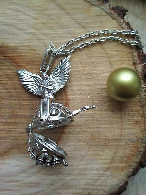 Archangel Michael Angel Caller with Gold sound Ball + Sigil Box pendant necklace