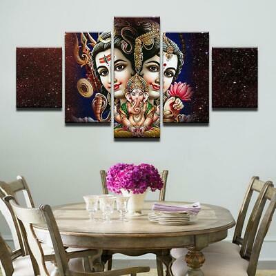 PARVATI - GANESH - SHIVA Wall Art- 5 PIECE CANVAS printed painting poster