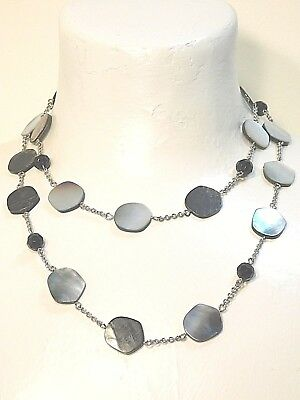 "Beautiful Lia Sophia Silver ""NIGHT OASIS"" Necklace, M-O-P,  NWT"