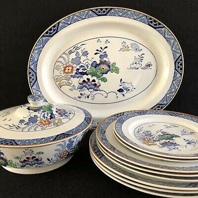 Booths Silicon China 'Netherlands Tureen Platter and 8 Various Plates