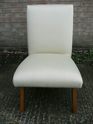 Small Bedroom, Boudoir Chair,  Off White, Cream Fabric, Shiny Finish, 74cmH
