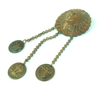 Vtg Antique Copper Pin dangler Brooch Horoscope Egyptian Revival Scorpio Libra