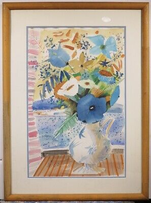 Charles Levier original c.1960s still life floral painting French artist