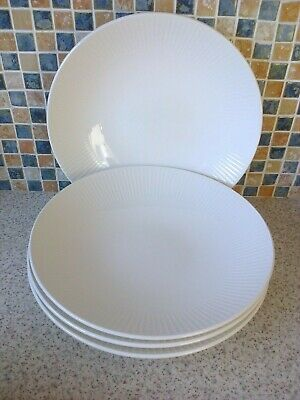 Steelite International Eng White Embossed Line 4 X Large Bowls Pasta Curry/Rice