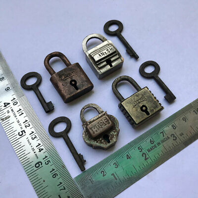 Old antique solid brass padlock lock with key small or miniature 4 pieces lot.