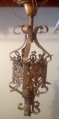 Vintage Spanish Revival Brass Hanging Pendant Light Wired Ready To Use
