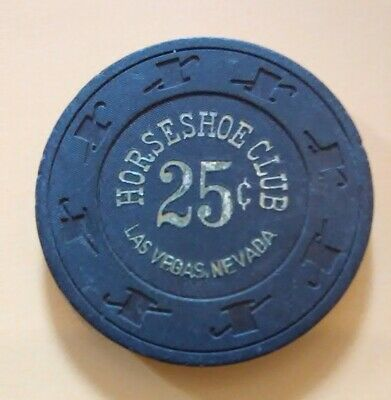 1980s HORSESHOE CASINO LAS VEGAS, NEVADA .25 CENT CHIP GREAT FOR ANY COLLECTION!