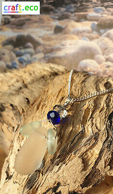 Stunning White Sea Glass and Crystal Pendant necklace sterling silver gift boxed