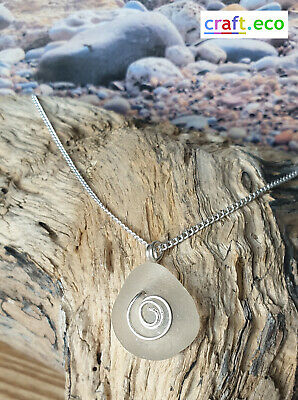 Stunning clear Sea Glass Pendant swirl necklace  sterling silver gift boxed