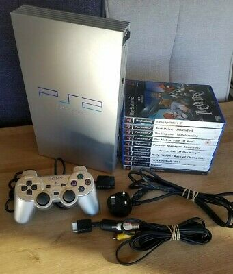 Sony PlayStation 2 Fat PS2 Console TESTED WORKING + 10 Games Bundle Satin Silver