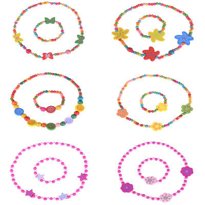 1Set Lovely Cute Wooden Necklace Bracelet Kids Baby Jewelry Gift Party Supply RA