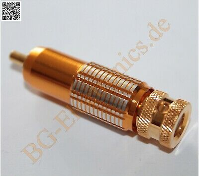 1 x HighEnd Cinch-Stecker Gold Cinch-Stecker in vergoldeter Aus Monacor  1pcs