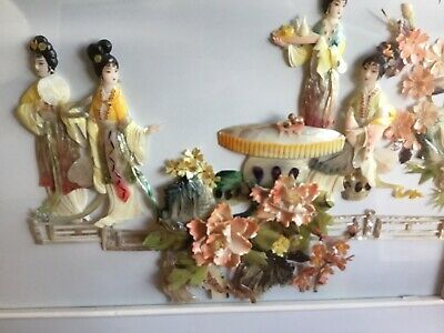 Lovely Vintage  Large Chinese Shell Picture Women & Flowers Mother Of Pearl