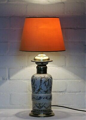 An Antique English Gothic Ceramic Oil Lamp Table Lamp 19th Century Converted