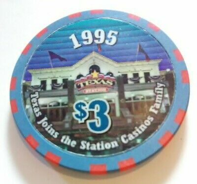 1995 Texas Station Casino Las Vegas, Nevada Hard To Find $3.00 Gaming Chip 1995!