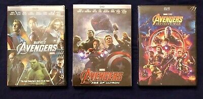 Avengers Trilogy: Avengers, Age of Ultron, & Infinity War 3-DVDs (Free Shipping)