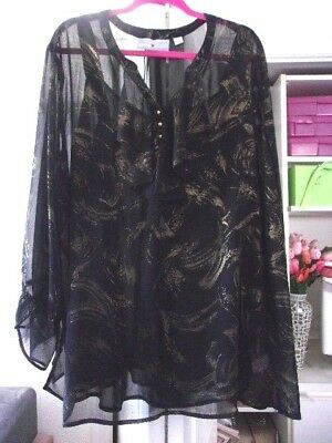 Beautiful AVENUE Sheer Top w/Ruffles & Cami-Size 26/28-EUC