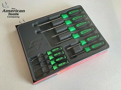 *NEW* Snap On 10-pc Green Screwdriver Awl, Hook & Pick Set SGDX60204CG