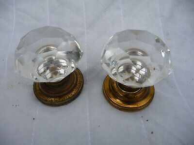 Vintage Pair Glass+brass Door Handles with concealed fixing plate-More Available