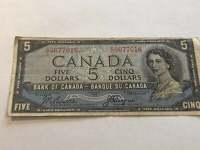 1954 Canada $5 Devil's Face Banknote Beattie & Coyne (Circulated)