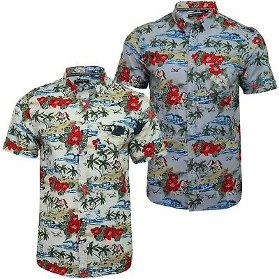 SALE Mens Hawaii Cotton Shirt Brave Soul Floral Palm Tree Printed Short Sleeved
