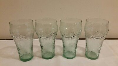 Vintage Coca Cola Drinking Glasses Holiday Christmas Pinecone Green Glass Q88