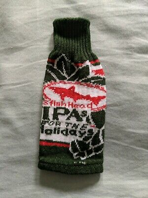 """Dogfish Head Holiday Knit Bottle Koozie """"Ipa's For The Holidays"""" Sweater/Beer"""