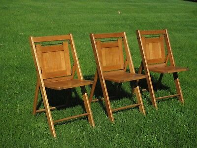 Vintage Antique Wooden Folding Chairs Set of 3