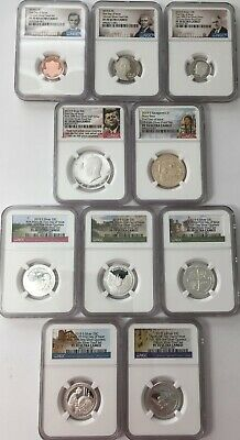 2019-S NGC PR70 10 COIN SILVER US Proof Set Half Dime Nickel Cent Dollar FDI
