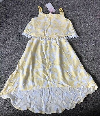 Yellow & White Girls Floaty Summer Dress by Pumpkin Patch. 7 years. BNWT NEW